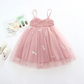 Toddler Girl Cutie Dragonfly Embroidery Mesh Suspender Dress
