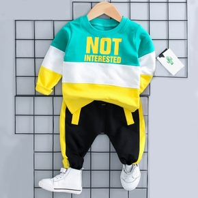Stylish Color Blocking Long-sleeve Pullover and Pants Sets for Baby Boy