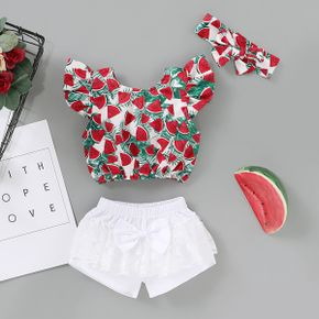 2pcs Baby Girl Short-sleeve Cotton  Sweet Watermelon Baby's Sets