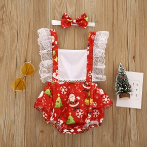Baby 2pcs Red Christmas Theme Print Lace Splicing Sleeveless Romper Overalls