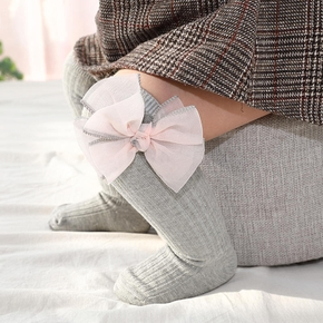 Baby / Toddler Tulle Bowknot Decor Ribbed Stockings