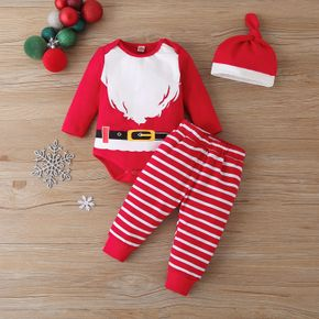 3pcs Baby Unisex Party Santa Claus Baby's Sets Cotton Christmas Long Sleeve Romper Infant Clothing Outfits