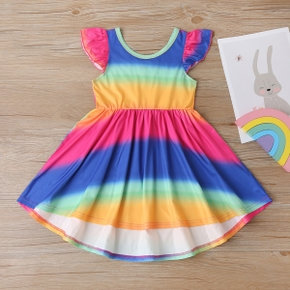 Toddler Girl Colorful Tie Dyed Rainbow Dress