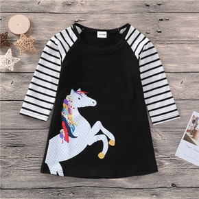 Baby / Toddler Girl Striped Unicorn Print Long-sleeve Dress