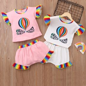 2-piece Toddler Girl Colorful Hot Air Balloon Letter Print Girl Top and Shorts Set