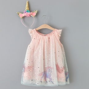 Baby / Toddler Girl Pretty Unicorn Decor Tulle Dress (No headband)