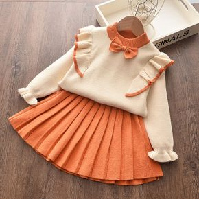 2-piece Baby / Toddler Bowknot Flounced Knitted Top and Pleated Skirt Set
