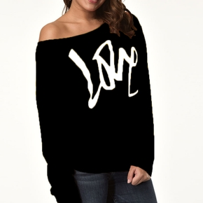 Round collar Letter Litooffset print long sleeve normal Pullover