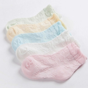 5-pack Breathable Floral Embroidered Solid Socks