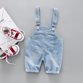 Baby Boy / Girl Front Pocket Solid Denim Suspender Shorts (No shoes)