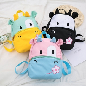 Cartoon Colorblock Cow Flower Backpack for Kid