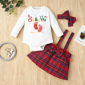3-pcs Baby Girl Plaid Sweet Suit-dress Cotton Fashion Long Sleeve Infant Clothing Outfits