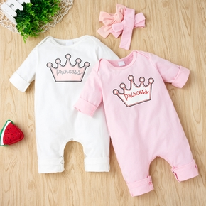 2pcs Letter and Crown Print Long-sleeve Baby Set