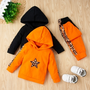2pcs Baby Unisex casual Leopard Long-sleeve Cotton  Baby's Sets