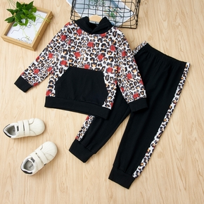 2-piece Baby / Toddler Leopard Hooded Top and Pants Set