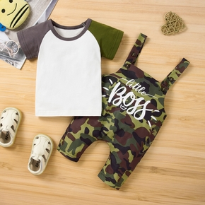 2pcs Camouflage and Letter Print Short-sleeve White Baby Set