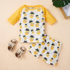 2pcs Baby Girl Long-sleeve Pineapple Print Swimwear
