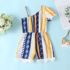 Baby / Toddler Vintage Print Oblique shoulder Jumpsuit