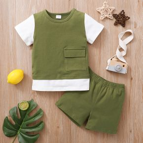 2-piece Baby / Toddler Boy Solid Splice Tee and Shorts Set