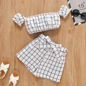 2-piece Toddler Girl Plaid Top and Shorts Set
