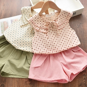2-piece Baby / Toddler Girl Pretty Polka Dots Doll Collar Top and Solid Shorts Sets