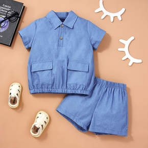 2-piece Toddler Boy Casual Blue Tee and Shorts Set