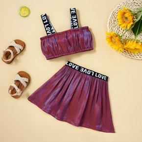 2-piece Toddler Girl Sporty Letter Camisole and Skirt Set