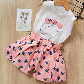 Baby / Toddler Girl Bow Decor Top and Printed Shorts Set
