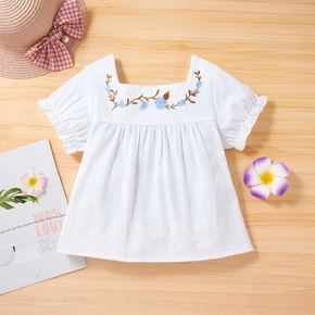 Toddler Girl Flower Leaf Embroidery Square Neck Ruffle-sleeve White Top