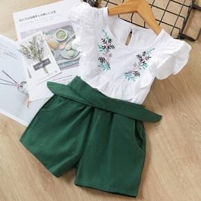 2-piece Baby / Toddler Girl Pretty Floral Embroidery Top and Solid Shorts Sets