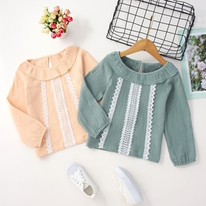 Toddler Girl Doll Collar Lace Decor/Floral Embroidery Long-sleeve Blouse