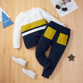 2-piece Toddler Boy Colorblock Round-collar Long-sleeve Top and and Elasticized Pants Casual Set