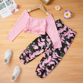 2-piece Toddler Girl Square Neck Bowknot Design Long-sleeve Pink T-shirt and 100% Cotton Camouflage Pants Set