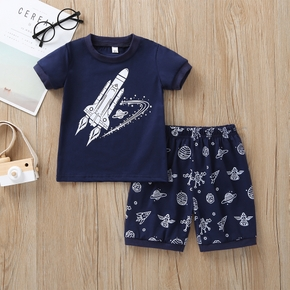 Baby / Toddler Cartoon Spaceship Tee and Shorts Set