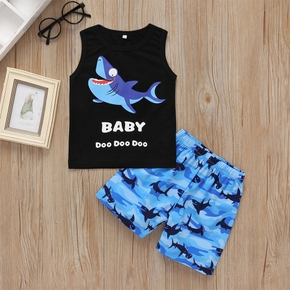 Baby / Toddler Cartoon Shark Print Tank and Shorts Set