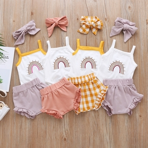 3pcs Baby Girl Sweet Rainbow Sets Cotton Baby Cute Clothes