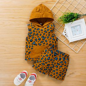 2pcs Hooded Sleeveless Cotton Baby Unisex casual Leopard Baby's Sets
