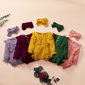 2-piece Baby Solid Ruffled Romper and Headband Set