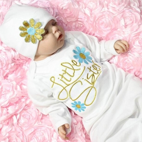 2PCS Newborn Baby Flower Embroidery Swaddle Infant Swaddle Wrap Hat Outfits Photograph