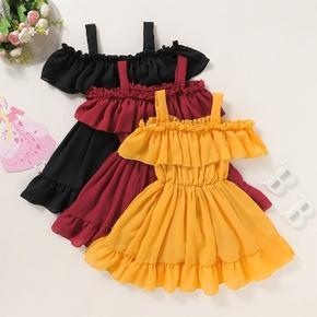 Toddler Girl Trendy Ruffled Off Shoulder Solid Dress