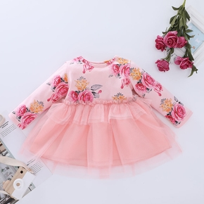 1pc Baby Girl Long-sleeve Cotton Sweet Costumes & Formal Dresses & Tuxedos