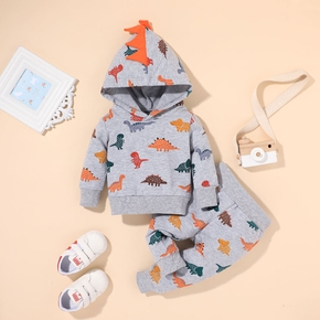 2pcs Baby Boy Long-sleeve Hooded Dinosaur Baby's Sets Cotton Long-sleeve Baby Clothes