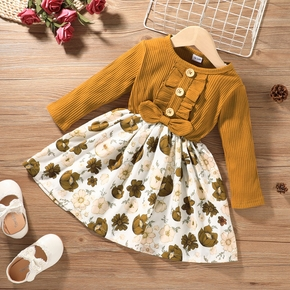 Baby / Toddler Flower Print Splice Long-sleeve Dress