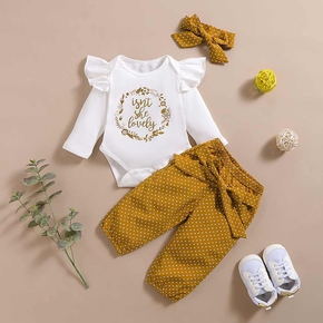 3pcs Baby Girl school Letter Baby's Sets