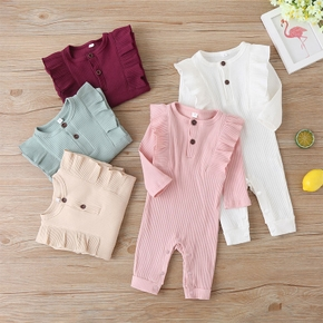 Baby Solid Flounced Jumpsuit