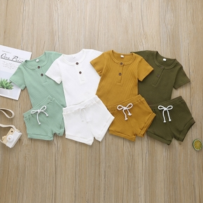 Baby Casual Solid Top and Shorts Set