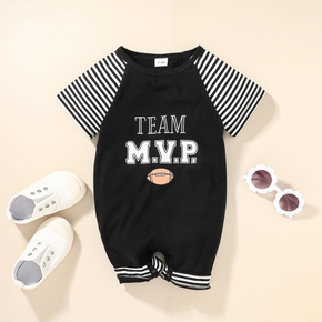 Letter and Rugby Short-sleeve Black Baby Jumpsuit