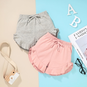 Solid Color Ruffle Cuff Baby Shorts