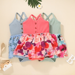 Ribbed Floral Print Sleeveless Baby Romper