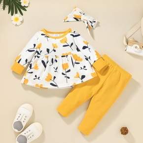 3pcs Baby Girl Long-sleeve Floral Print Cotton Baby's Sets